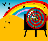Target board and butterflies. Colored background with target board on blackboard, white arrows, rainbow and butterflies flying Royalty Free Stock Photography
