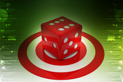 Target board and cube. In color background Royalty Free Stock Photo