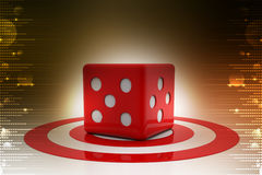 Target board and cube. In color background Stock Photo
