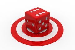 Target board and cube. In white background Royalty Free Stock Photos