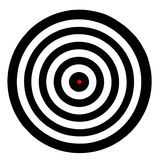 Target board. Plain circle target board with red spot in the middle Stock Photo