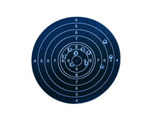 Target with bullet holes. Shooting mark with bullet holes isolated on white background Stock Photography