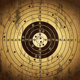 Target with bullet holes. Over grunge background Stock Images