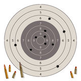 Target with bullet holes. And bullets isolated on white. Vector illustration Stock Image