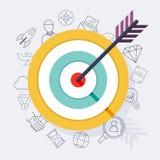 Target bullseye or arrow on target flat icon. Flat design modern Stock Photos
