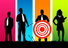 Target Business Team. Business people with a red target Stock Photo