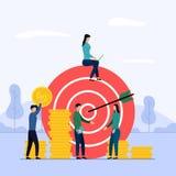Target business teamwork, arrow hitting a target, business concept vector illustration stock illustration