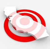 Target California - Marketing Concept. A red bulls-eye with a map of California state on it royalty free illustration