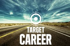 Target career. Job new time text optimistic career Royalty Free Stock Images