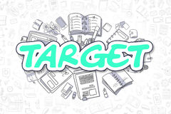 Target - Cartoon Green Inscription. Business Concept. Royalty Free Stock Images