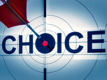 Target Choice Shows Two-way Path Decision. Target Choice Showing Two-way Path Financial Or Emotional Decision Royalty Free Stock Images