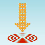 Target and coins . vector illustration