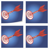 On target collection. A set of four conceptual illustration of successful idea, business, concept and project Stock Photo