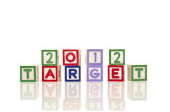 Target concept. 2012 target words on wood blocks  on white background Royalty Free Stock Images