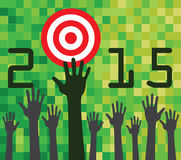 2015 target concept. With hands on digital background Royalty Free Stock Photography
