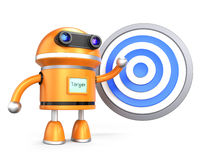 Target concept. Robot guy demonstrating marketing plan with target symbol Royalty Free Stock Image