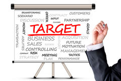 Target concept with word cloud on whiteboard Stock Photography