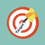 Target concept - word target  sheet of paper in the center of ta Royalty Free Stock Photography