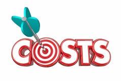Target Costs Arrow Bullseye Reduce Spending. 3d Illustration Royalty Free Stock Photos