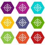 Target crosshair icon set color hexahedron Stock Image