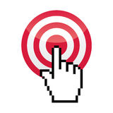 Target with cursor hand vecotr icon Royalty Free Stock Photography