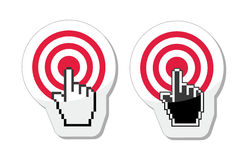 Target with cursor hand vector icon Stock Image