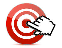 Target and cursor illustration design. Isolated over white Stock Photography