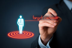 Target customer. (marketing) concept. Customer represented by virtual icon of man standing on target royalty free stock image