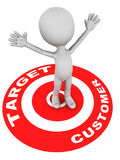 Target customer. Words on target red circle and little 3d man standing raising his hands being the right customer white background stock illustration