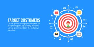 Target customers, lead generation, market segmentation concept. Flat design marketing illustration. Customer in a target circle, business strategy to attract