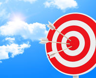 The target. 3d generated picture of a target with three arrows Stock Images