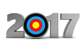 2017 target. 3d illustration of 2017 year sign and arrow, new year goals concept Stock Images