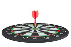 Target dart with arrow. 3d illustration. Isolated on white Stock Photos