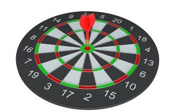 Target dart with arrow. 3d illustration. Isolated on white vector illustration
