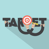 Target With Dart Arrow In Hand Typography Design Stock Photo