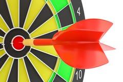 Target dart arrow hitting in the dartboard. Target dart arrow hitting in the center of dartboard. 3d illustration Stock Photo