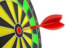 Target dart arrow hitting in the dartboard. Target dart arrow hitting in the center of dartboard. 3d illustration Stock Image