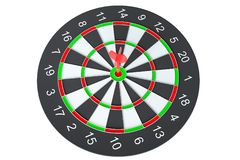 Target dart arrow hitting in the dartboard. Target dart arrow hitting in the center of dartboard. 3d illustration Stock Image