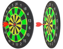 Target dart arrow hitting in the dartboard. Target dart arrow hitting in the center of dartboard. 3d illustration Royalty Free Stock Photography