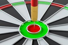 Target dart arrow hitting in the dartboard. Target dart arrow hitting in the center of dartboard. 3d illustration Royalty Free Stock Images