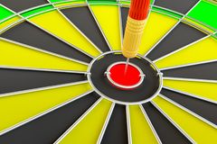 Target dart arrow hitting in the dartboard. Target dart arrow hitting in the center of dartboard. 3d illustration Royalty Free Stock Photo