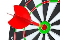 Target dart arrow hitting in the dartboard. Target dart arrow hitting in the center of dartboard. 3d illustration Stock Photography