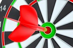 Target dart arrow hitting in the dartboard. Target dart arrow hitting in the center of dartboard. 3d illustration Stock Images