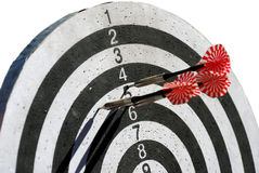 Target with dart arrows. White and black target with red dart arrows Royalty Free Stock Photo