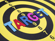 Target on dart board. Close up word spell TARGET on dart board. & x28;Selective focus& x29 Stock Images
