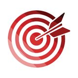 Target with dart in bulleye icon. Flat color design. Vector illustration stock illustration