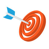 Target with dart cartoon icon. Orange and blue symbol isolated on a white background Stock Photos