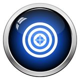 Target With Dart In Center Icon. Glossy Button Design. Vector Illustration royalty free illustration