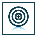 Target With Dart In Center Icon. Square Shadow Reflection Design. Vector Illustration royalty free illustration