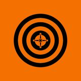 Target With Dart In Center Icon. Black on Orange Background. Vector Illustration stock illustration